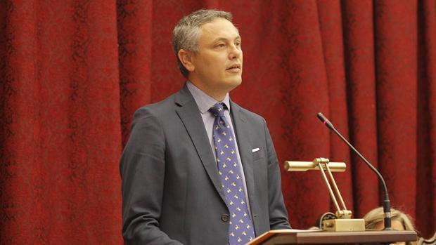 Alberto García Reyes, en el momento del discurso