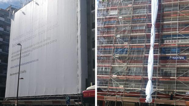 Anuncio de Cabify retirado este sábado de una fachada de la calle Virgen de Luján