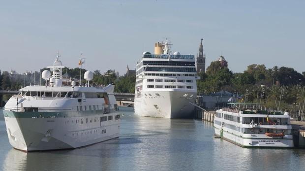Varios cruceros atracados en el muelle de las Delicias