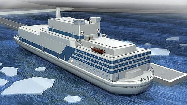 Ilustración de cómo quedará la central nuclear flotante rusa en construcción