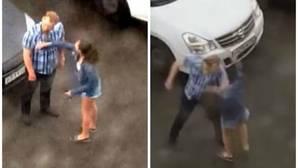 Brutal agresión de un hombre que tiró a su novia al suelo de un puñetazo