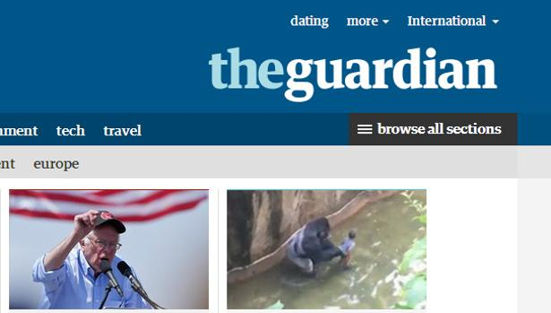 Captura del diario «The Guardian», en su página de internet