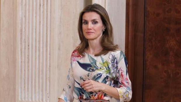 La Reina Letizia Ortiz en una recepción celebrada en La Zarzuela
