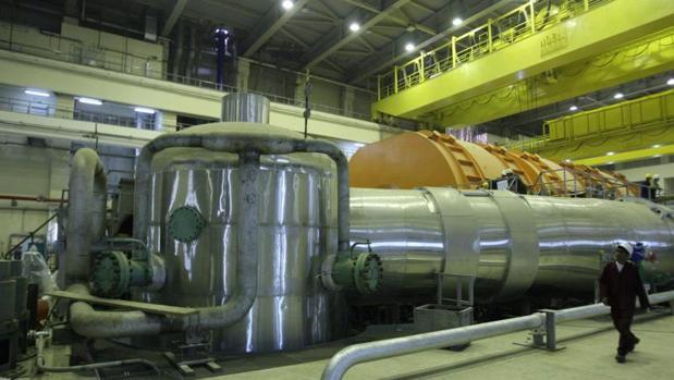 El interior del reactor en la planta de fabricación rusa de energía nuclear, Bushehr, en el sur de Irán