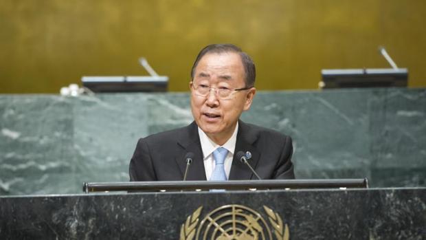 El secretario general de la ONU, Ban Ki-moon, durante una reunión sobre el cambio climático el miércoles 21 de septiembre de 2016, en Nueva York