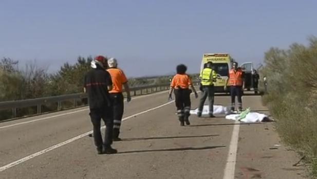 Un atropello reciente de varios ciclistas en una carretera de Zaragoza