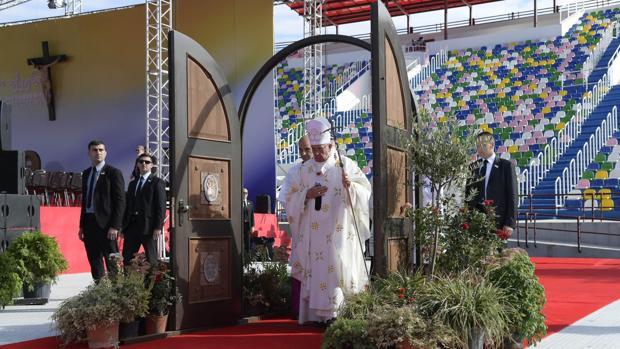 El Papa durante su visita a Georgia
