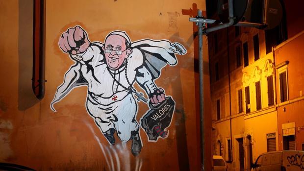 El mural pintado en Borgo Pio, junto al Vaticano