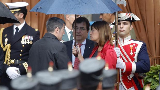 Armengol, hoy junto a los presidentes de Canarias, Fernando Clavijo, y Extremadura, Guillermo Fernández Vara