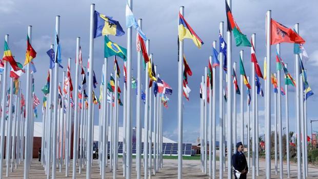 Banderas de diferentes países ondean en la COP22