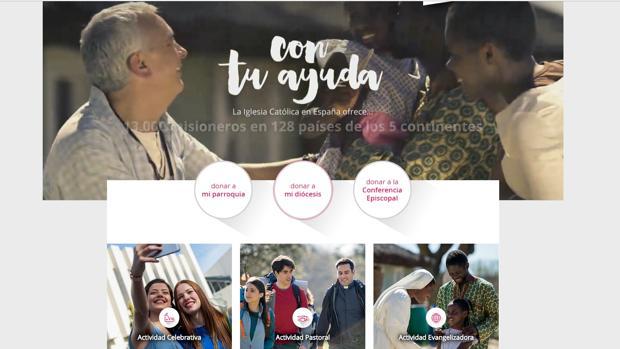 Así es la web de donativos de la Iglesia