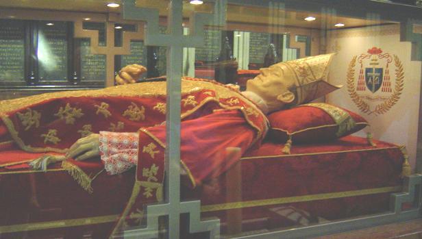 Cuerpo incorrupto del Beato Aloysius Stepinac, en la Catedral de Zagreb.