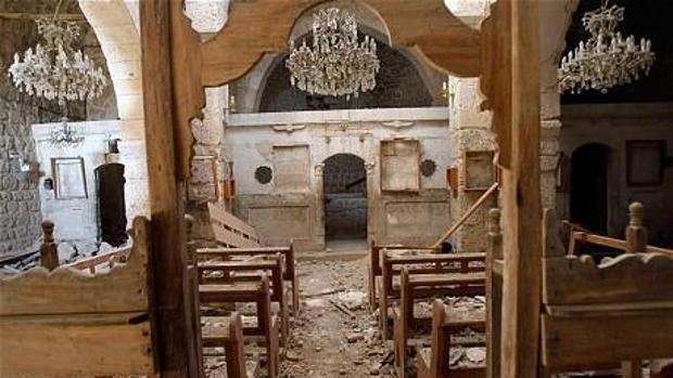 Iglesia en la localidad siria de Malula tras el paso de Daesh