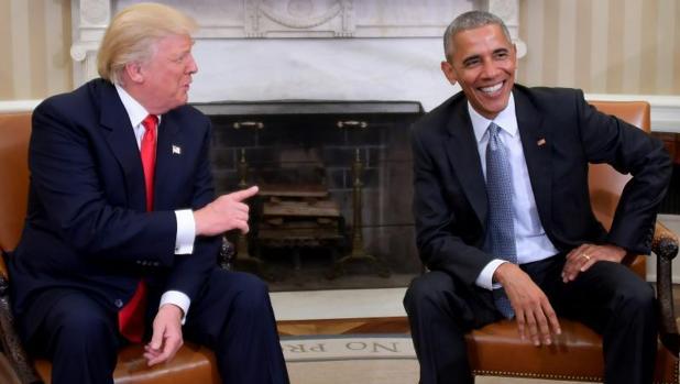 Obama durante un encuentro con Donald Trump en la Casa Blanca
