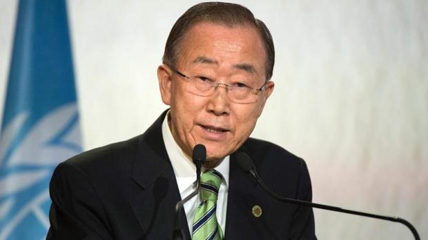 El secretario general de la ONU, Ban Ki-moon, en la Cumbre del Clima de Marrakech