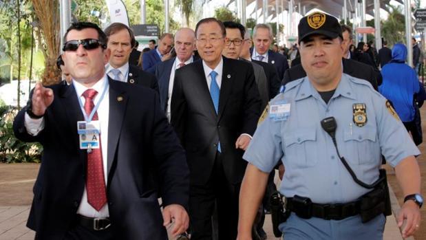 Ban Ki-moon a su llegada a la Cumbre del Clima de Marrakech