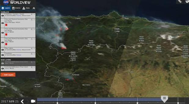 La NASA ha captado desde sus satélites la situación que se vive en la región con múltiples focos activos