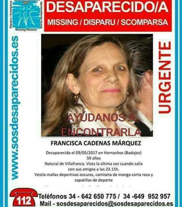 El hijo de la mujer desaparecida en Hornachos asegura que su madre «no» se iría «por su propia voluntad»
