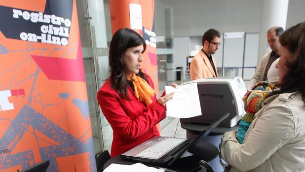 Mostradores del registro civil en la ciudad de la Justicia de Valencia