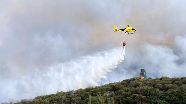 Operarios trabajan en la extinción del fuego