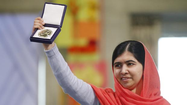 Malala, durante la ceremonia de entrega del Nobel de la Paz en 2014