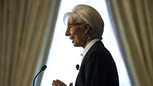La directora gerente del FMI, Christine Lagarde, durante una comparecencia
