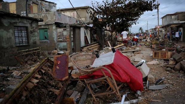 Escena de La Habana tras el paso del Huracán Irma