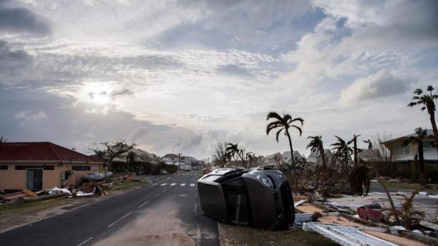 Bahía de Nettle en Marigot, en la isla de San Martín tras el paso del huracán Irma