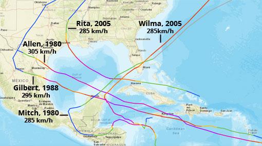 Huracanes más potentes en el Atlántico. Fuente: NOAA
