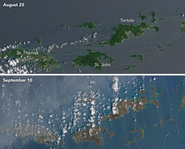 El huracán Irma deja marrones las verdes islas del Caribe