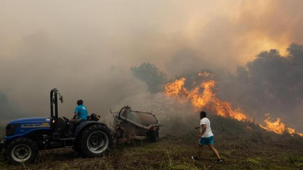 Un grupo de vecinos combaten un incendio en la Villa Pisao, en Mealhada (Portugal)