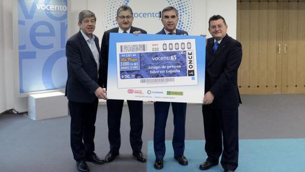 Cupón de la ONCE con la imagen del Grupo Vocento