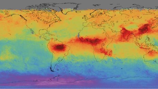 Mapa global de monóxido de carbono