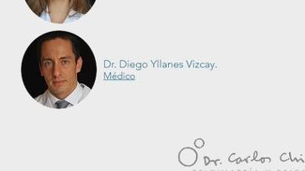 La captura en la página web de la clínica muestran que Diego Yllanes estuvo contratado como médico y figuró en el plantel, junto a otros 19 miembros del equipo