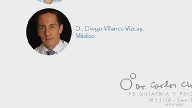 Imagen de Diego Yllanes en e cuadro médico de una clínica privada de Madrid