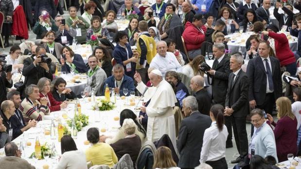 El Papa en una comida con sin techo en el Vaticano el pasado 19 de noviembre