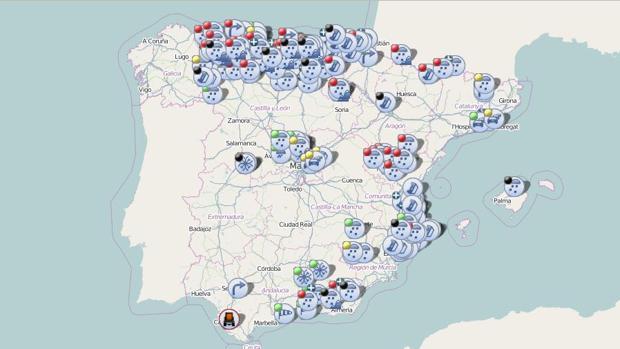 Situación de las carreteras españolas a las 12.00 horas del 2 de febrero