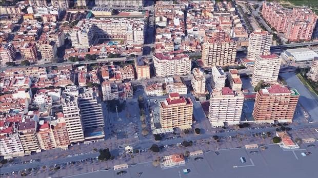 Simulación de subida del nivel del agua en Fuengirola (Málaga)