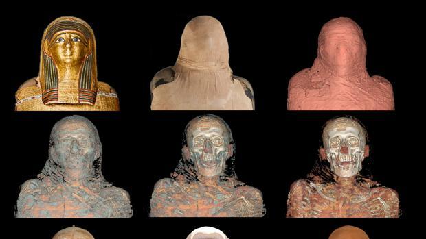 Foto de archivo de reconstrucción forense de la momia de Nespamedu por el forense Juan Villa
