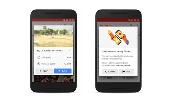 Detalle de YouTube GO, la nueva aplicación de la plataforma de videos