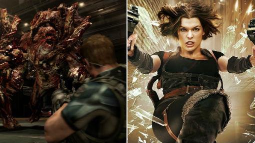Captura del videojuego «Resident Evil 6» y Milla Jovovich en una secuencia de la película