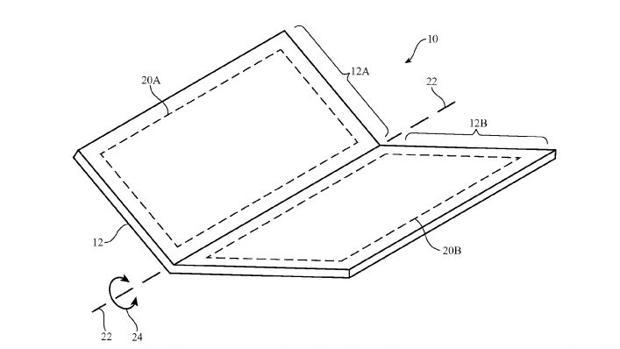 Diseño de un terminal plegable que ha solicitado para patentar la firma Apple