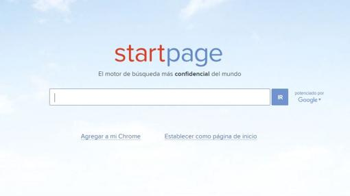 Captura de pantalla del buscador Startpage