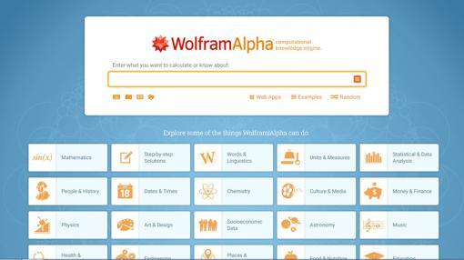 Captura de pantalla del buscador WolframAlpha