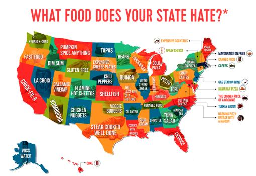 Qué comida detesta más la gente según cada Estado