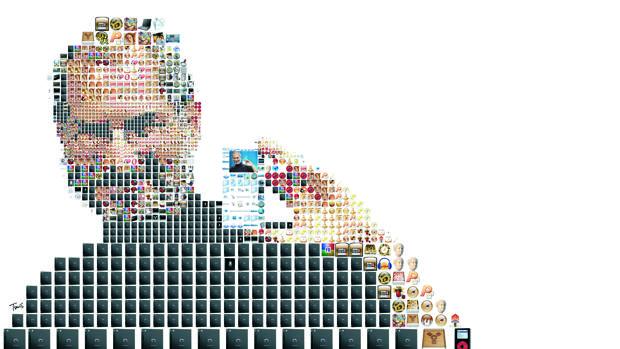 Una obra del arttista Charis Tsevis que homenajea la figura de Steve Jobs, fundador de Appe