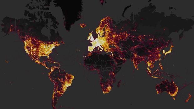 Mapa de puntos calientes elaborado por la compañía con los datos de sus usuarios