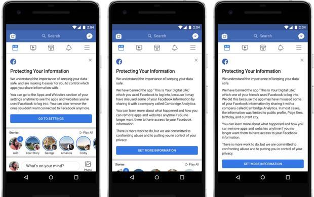 Facebook ya ha empezado a lanzar mensajes a sus usuarios