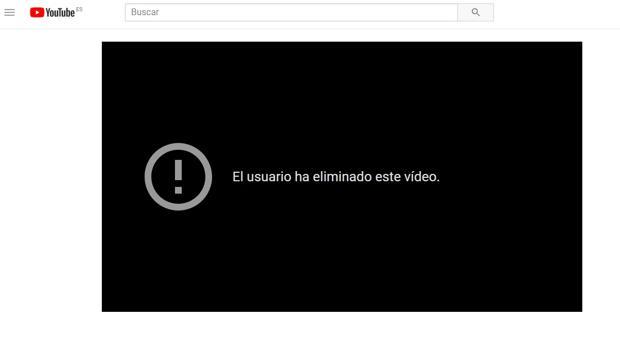 Captura del momento en el que se eliminó el videclip «Despacito» de Luis Fonsi