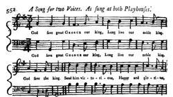 Partitura publicada por The Gentleman's Magazine el 15 de octubre de 1745
